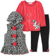 Kids Headquarters 3-Pc. Hooded Vest, Top & Leggings Set, Baby Girls (0-24 months)