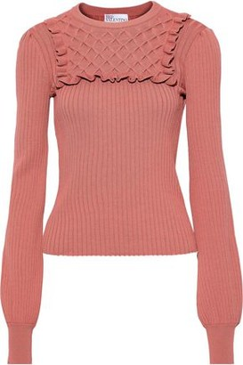 RED Valentino Ruffle-trimmed Smocked Ribbed-knit Sweater