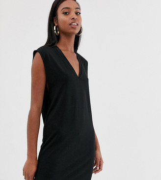 Asos Tall DESIGN Tall v neck dress with drop arm hole in ponte-Black