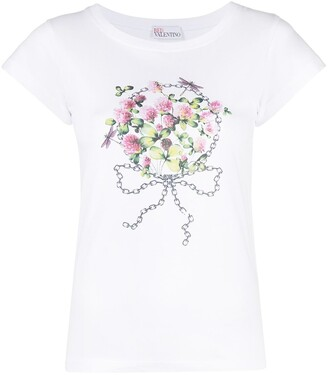RED Valentino floral-print short-sleeved T-shirt