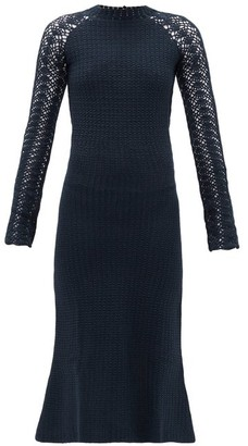 Escvdo - Pirka Open-back Crocheted-cotton Midi Dress - Womens - Navy