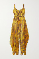 SOLACE London Junee Printed Crepe And Pleated Hammered-satin Gown - Mustard