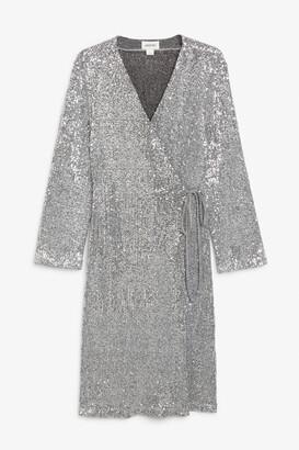 Monki Sequin wrap dress