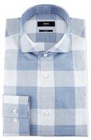 BOSS Enlarged-Check Slim-Fit Dress Shirt, Blue/White