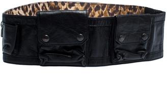 Dolce & Gabbana Black Leather Multi Pocket Elastic Belt