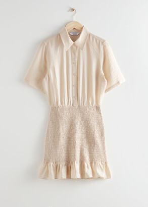 And other stories Smocked Mini Shirt Dress