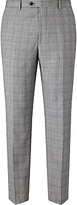 John Lewis Super 100s Wool Cashmere Milled Check Tailored Suit Trousers, Grey