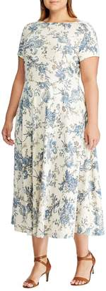 Chaps Plus Floral Cotton Midi Dress