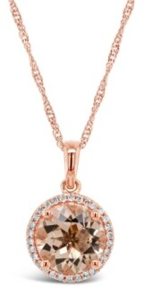 Macy's Morganite (2-1/2 ct. t.w.) and Diamond (1/8 ct. t.w.) Pendant Necklace in Rose Gold-Plated Sterling Silver