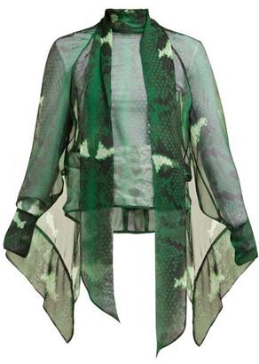 Petar Petrov Barry Snake-print Silk Blouse - Womens - Green Print