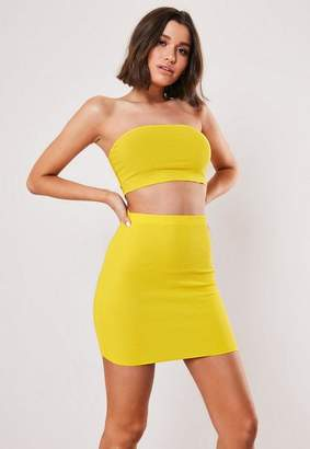 Missguided Yellow Shirred Bandeau And Skirt Co Ord Set