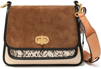 Tory Burch Suede, Leather And Snake Shoulder Bag