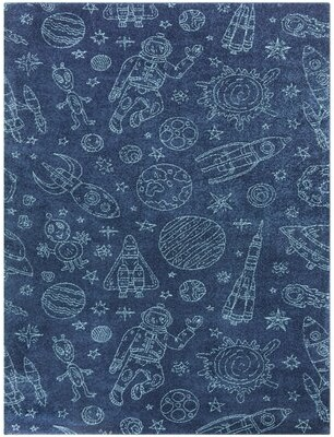 "Zoomie Kids Ozbourn Space Rockets Blue Area Rug Rug Size: Rectangle 3'11"" x 5'7"""