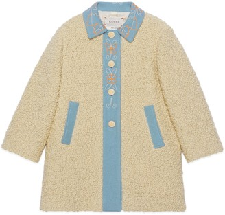 Gucci Children's faux fur coat with butterfly