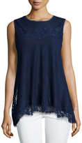 Max Studio Sleeveless Lace-Trim Blouse, Navy