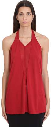 Drkshdw Dbl V Halter Topwear In Red Cotton