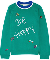 Mira Mikati Be Happy Embellished Merino Wool Sweater - Forest green