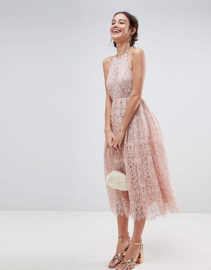Asos Design Lace Pinny Scallop Edge Midi Prom Dress
