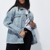 River Island Womens Plus blue distressed denim jacket