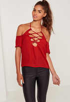 Missguided Lace Up Neck Bardot Blouse Red