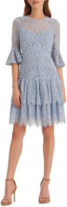 ML Monique Lhuillier Corded Floral Lace Bell-Sleeve Ruffled Tiered Skirt Dress