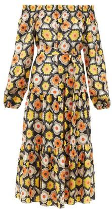 Temperley London Crochet Off-the-shoulder Silk Midi Dress - Black Multi