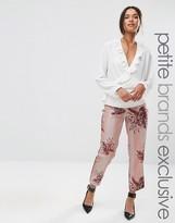 Alter Petite Stripe Floral Printed Cigarette Pajama Pant