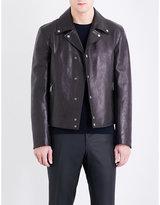 Salvatore Ferragamo Biker-collar leather jacket