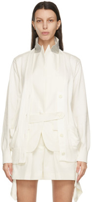 Sacai White Knit and Suiting Cardigan