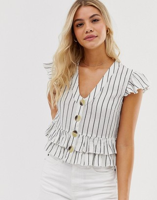 Influence button through top in natural stripe-White