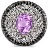 Ri Noor Disc Cocktail Ring With Purple Sapphire & Black & White Pave Diamonds