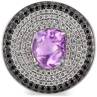 Disc Cocktail Ring With Purple Sapphire & Black & White Pave Diamonds