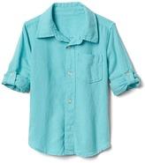 Linen-blend convertible shirt