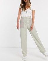 Daisy Street relaxed pants with contrast check pockets