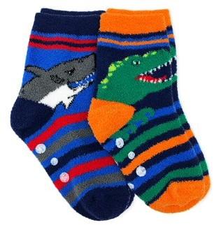 Jefferies Socks Boys Socks, 2 Pairs Non-Skid Fuzzy Shark Dinosaur Pattern Crew Slipper Socks (Little Boy & Big Boy)
