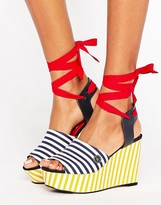 Tommy Hilfiger Gigi Hadid Stripe Wedge Sandals