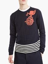 Comme Des Garcons Shirt Navy Cartoon Print Knitted Jumper