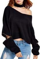 Futurino Women's Solid Choker V Neck Long Sleeve Loose Knit Sweater Jumper Top