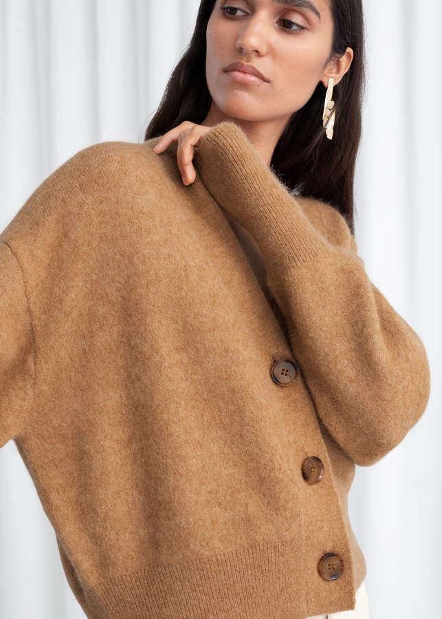 Alpaca Blend Puff Sleeve Cardigan