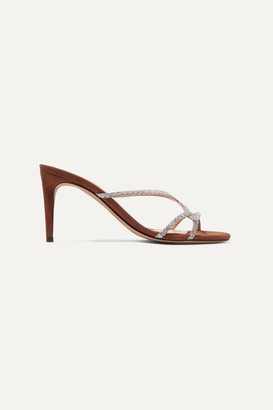 Alexandre Birman Sirena Watersnake And Suede Mules - Tan