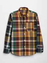 Gap Plaid Convertible Button-Down Shirt