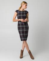 Le Château Check Print Viscose Blend Shift Dress