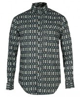 Shades Of Grey Button Down Ikat Patterned Shirt