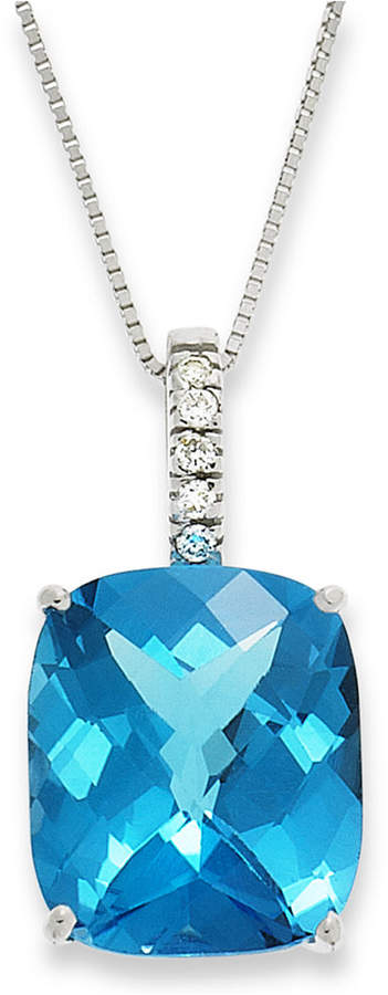 Macy's 14k White Gold Necklace, Blue Topaz (7 ct. t.w.) and Diamond Pendant