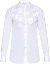 Alexander McQueen Badge-appliqué cotton-poplin shirt