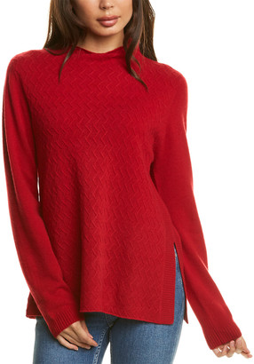 InCashmere Mini Cable Mock Cashmere Sweater