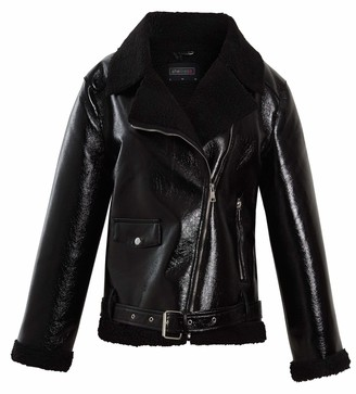 shelikes Womens Biker Jacket Ladies Soft Faux PU Suede Style Padded Collar Warm Coat (Black Patent 12)