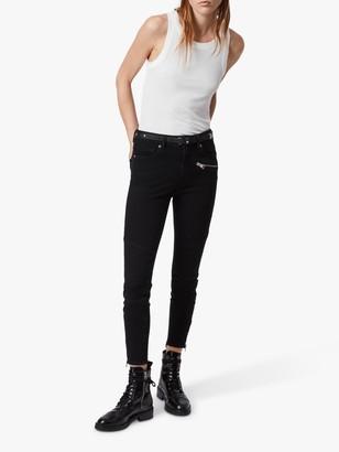 AllSaints Biker High Rise Skinny Jeans, Black