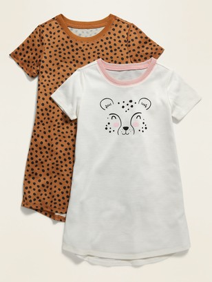 Old Navy Cheetah Print/Graphic Nightgown 2-Pack for Toddler Girls & Baby