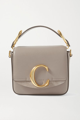 Chloé C Mini Suede-trimmed Leather Shoulder Bag - Taupe